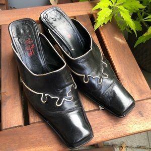 Black & White Leather Western Mules - Vintage 90's